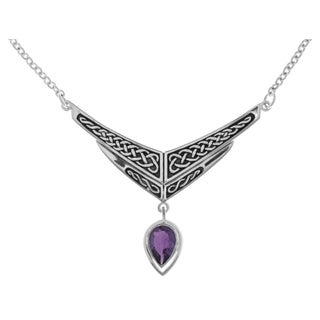Carolina Glamour Collection Silverplated Celtic Knot Amethyst Purple Glass Chevron Drop Pendant Link Chain Necklace