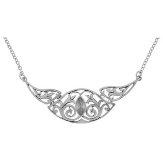 Silverplated Triple Celtic Floral Cubic Zirconia Knotwork Pendant Link Chain Necklace - White