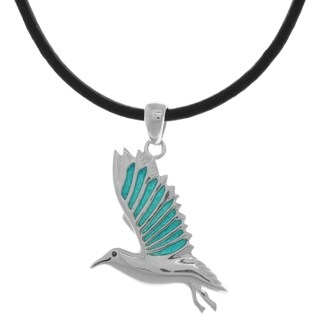 Silverplated Blue Enameled Wings Bird In Flight Pendant Black Leather Necklace