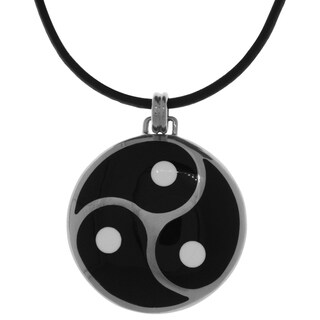 Carolina Glamour Collection Silverplated Celtic Triskelion Knot of Restraint and Control Pendant Black Leather Necklace