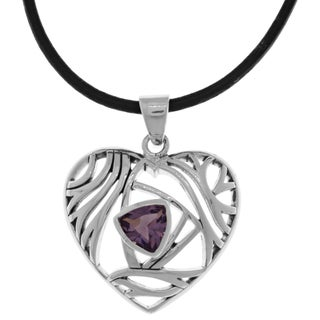 Silverplated Amethyst Purple Glass Modern Heart Pendant Black Leather Necklace (2 options available)