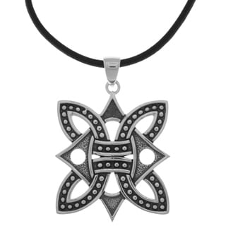 Carolina Glamour Collection Silverplated Borre Viking Medallion Pendant Black Leather Necklace