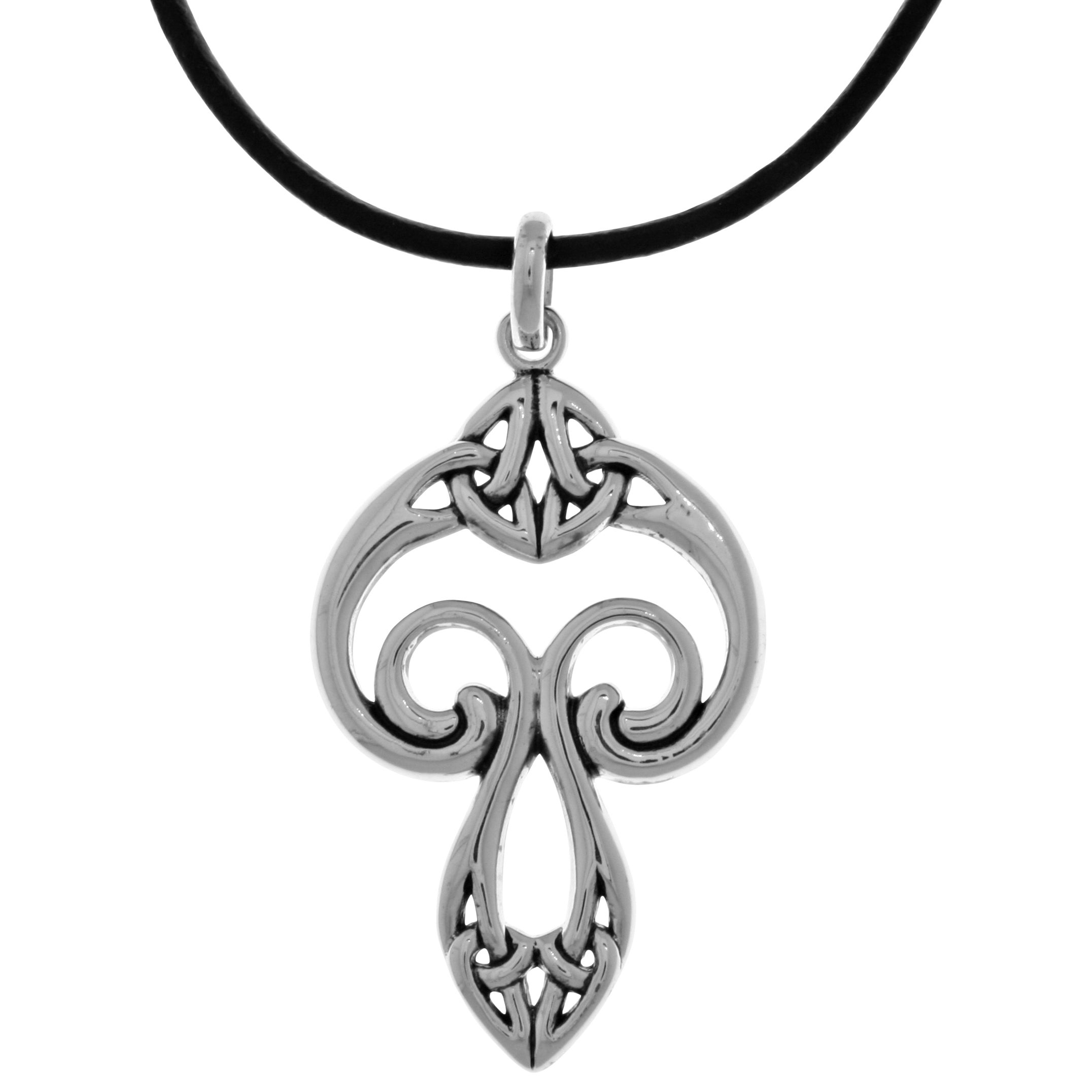 Celtic Knot Cat Silver Tone Pendant With Leather Necklace