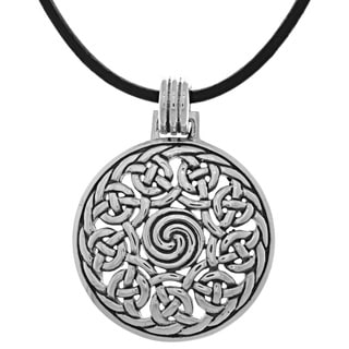 Carolina Glamour Collection Silverplated Round Celtic Knot Pendant Black Leather Necklace