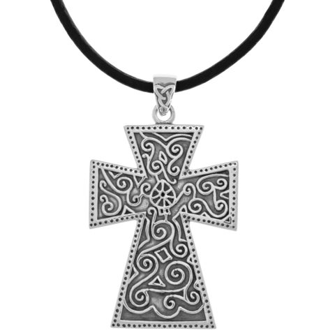 Silverplated Celtic Spiral Knotwork Cross Pendant Black Leather Necklace