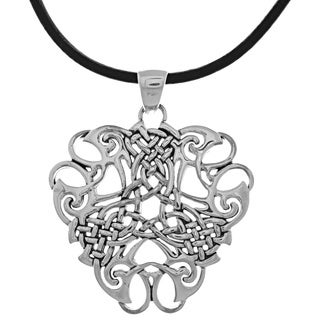 Silverplated Endless Celtic Knotwork Pendant Black Leather Necklace