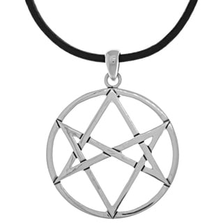 Carolina Glamour Collection Silverplated Magical Hexagram Star Pendant Black Leather Necklace