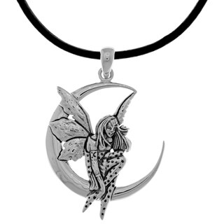 Silverplated Fairy Moon Dream Pendant Black Leather Necklace
