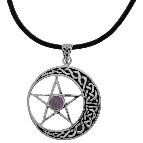 Silverplated Amethyst Glass Celtic Moon and Star Pentacle Pendant Black Leather Necklace - Purple