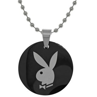 Carolina Glamour Collection Stainless Steel Licensed Playboy Bunny Logo Pendant Ball Chain Necklace