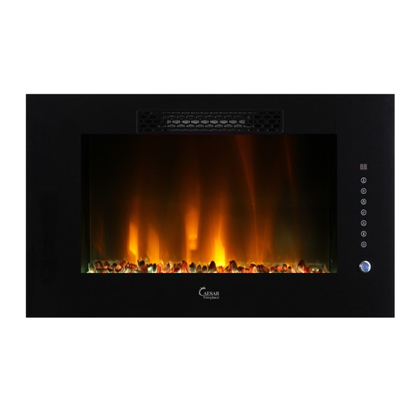 Caesar Elite Linear Wall Mount Recess Freestanding Multicolor Flame Electric Fireplace, 30-Inch