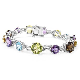 Malaika Sterling Silver 26 1/2ct Multi-gemstone Diamond Accent Bracelet