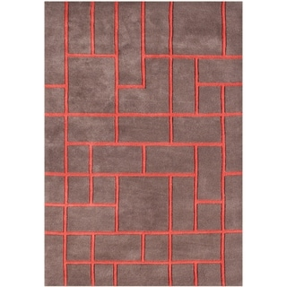 The Alliyah Geometric Brick Pecan Brown Wool Accent Area Rug (5' x 8')