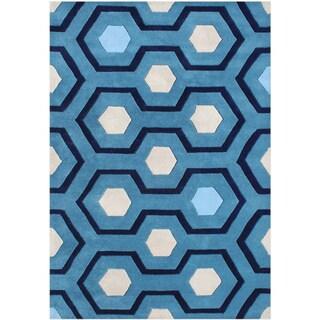 Alliyah Handmade Blue New Zealand Blend Wool Rug (5' x 8')