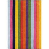 The Handcrafted Alliyah Jazzy Stripes Vibrant Multicolor Wool Accent Rug (5' x 8') - 5' x 8'