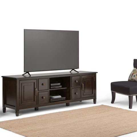 WYNDENHALL Hampshire SOLID WOOD 72 inch Wide Traditional TV Media Stand in Dark Chestnut Brown For TVs up to 80 inches
