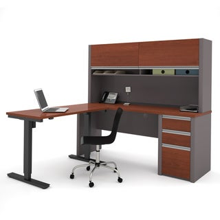 Bestar Connexion L-Desk with hutch including Electric Height Adjustable Table