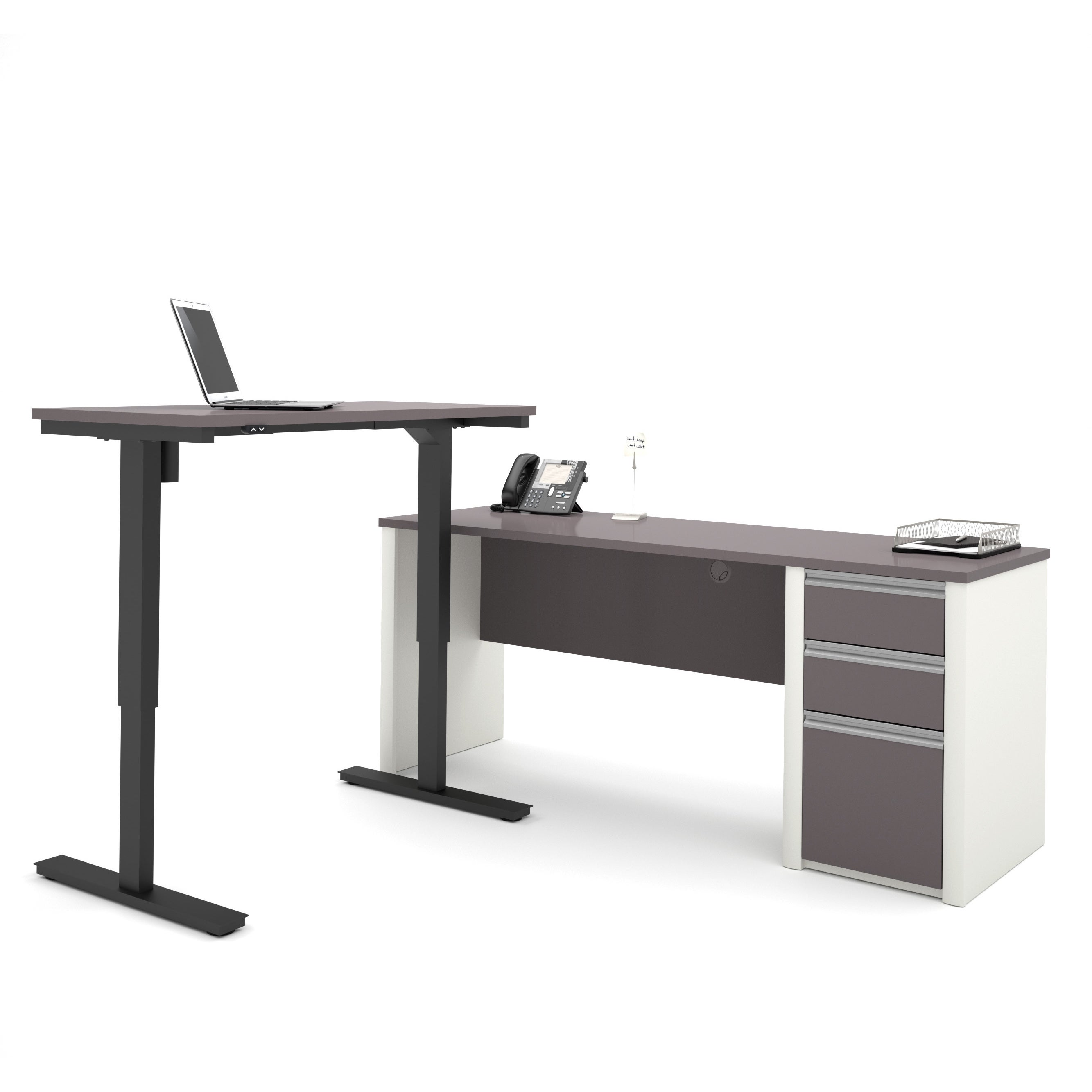 Perfect Bestar Connexion L Desk Including Electric Height Adjustable Table (Option:  Grey   White