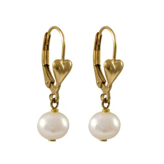 Luxiro Gold Filled Freshwater Pearl Girls Dangle Earrings