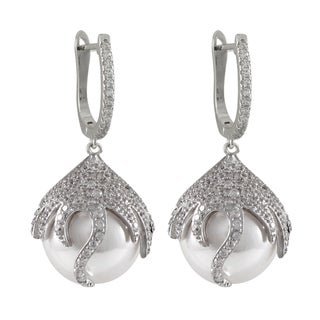 Luxiro Sterling Silver Cubic Zirconia Faux Pearl Dangle Earrings