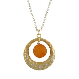 Luxiro Gold Finish Gemstone Cubic Zirconia Hammered Circle Pendant Necklace