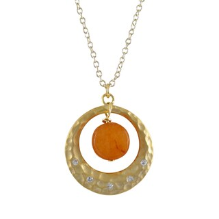 Luxiro Gold Finish Gemstone Cubic Zirconia Hammered Circle Pendant Necklace (3 options available)