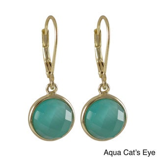 Sterling Silver Gold Finish Semi-precious Gemstone Circle Dangle Earrings