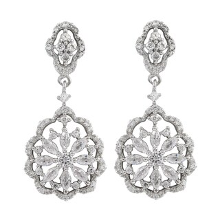 Luxiro Sterling Silver Gold Finish Cubic Zirconia Scalloped Floral Dangle Earrings