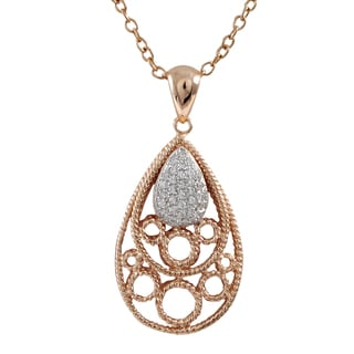 Luxiro Sterling Silver Rose Gold Finish Pave Cubic Zirconia Teardrop Pendant Necklace