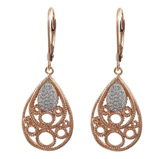 Luxiro Sterling Silver Rose Gold Finish Pave Cubic Zirconia Teardrop Dangle Earrings