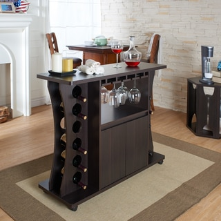 Furniture of America Tiko Modern Espresso Buffet with Wine Rack