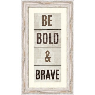 Framed Art Print 'Wood Sign Bold and Brave on White Panel' by Michael Mullan 13 x 24-inch