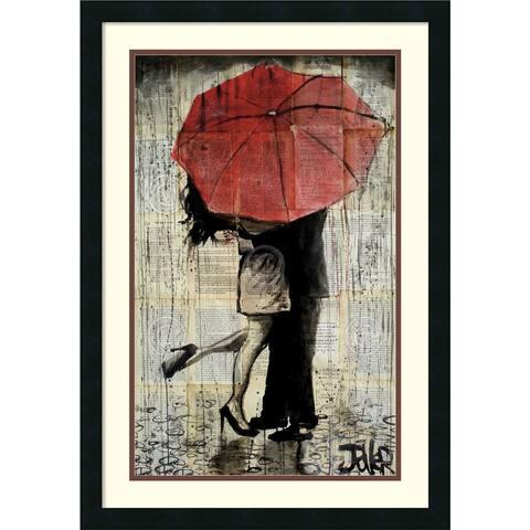 Framed Art Print 'The Red Umbrella' by Loui Jover
