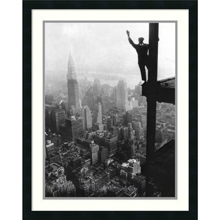 Waving from Empire State Building Construction Site, 1930' Framed Art Print 24 x 30-inch