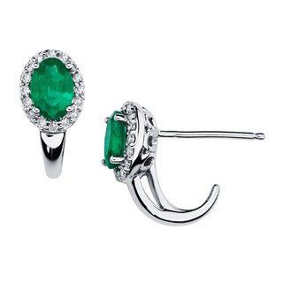Boston Bay Diamonds 14k White Gold 1/6ct TDW Diamond and Emerald Halo Oval Earrings (H-I, SI1-SI2)