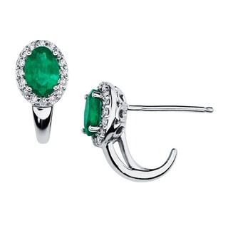 Boston Bay Diamonds 14k White Gold 1/3 TGW Emerald and Diamond Halo Oval Earrings (I,I1)