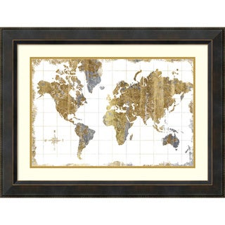 Michael Mullan 'Gilded Map' Framed Art Print 32 x 24-inch