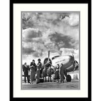 Framed Art Print 'Passenger at Aviation Field at Newark NJ, 1940s' by Philip Gendreau 17 x 21-inch