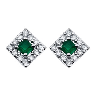 Boston Bay Diamonds 14k White Gold Emerald and 1/4ct TDW Diamond Halo Square Earrings (H-I, SI1-SI2)