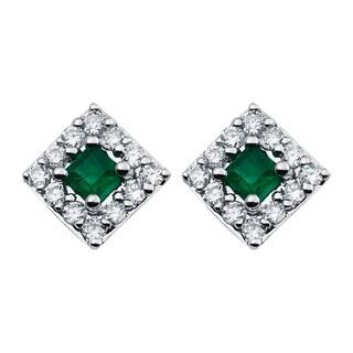 Boston Bay Diamonds 14k White Gold 1/2 TGW Emerald Diamond Halo Square Earrings (I, I1)