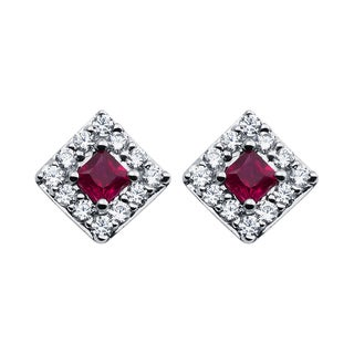 Boston Bay Diamonds 14k White Gold Ruby and 1/4ct TDW Diamond Halo Square Earrings (H-I, SI1-SI2)