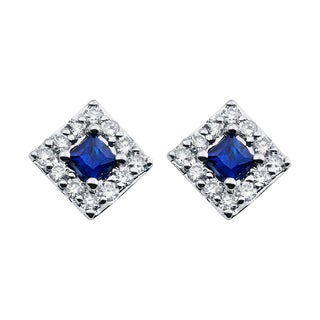 Boston Bay Diamonds 14k White Gold 1/5 TGW Sapphire Diamond Halo Square Earrings (I, I1)