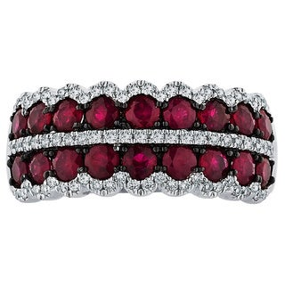 Boston Bay Diamonds 14k White Gold Ruby and 1/3ct TDW Diamond Ring (H-I, SI1-SI2)