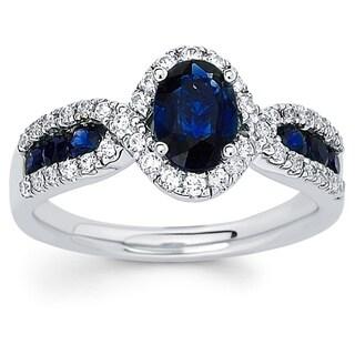 Boston Bay Diamonds 14k White Gold Sapphire and 1/3ct TDW Diamond Fashion Ring (H-I, SI1-SI2)