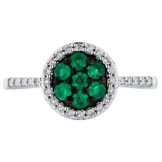Boston Bay Diamonds 14k White Gold Emerald and 1/5ct TDW Diamond Fashion Dandelion Ring (H-I, SI1-SI2)