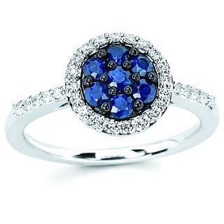 Boston Bay Diamonds 14k White Gold Sapphire and 1/5ct TDW Diamond Fashion Dandelion Ring (H-I, SI1-SI2)