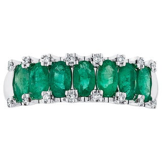 Boston Bay Diamonds 14k White Gold Emerald and 1/10ct TDW Diamond Fashion Ring (H-I, SI1-SI2)