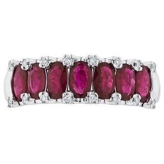 Boston Bay Diamonds 14k White Gold Ruby and 1/10ct TDW Diamond Fashion Ring (H-I, SI1-SI2)
