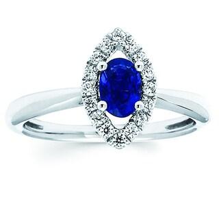 Boston Bay Diamonds 14k White Gold Sapphire and 1/5ct TDW Diamond Fashion Iris Ring (H-I, SI1-SI2)