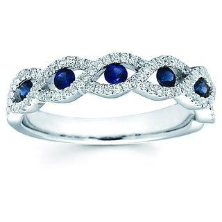 Boston Bay Diamonds 14k White Gold Sapphire and 1/4ct TDW Diamond Fashion Braided Ring (H-I, SI1-SI2)